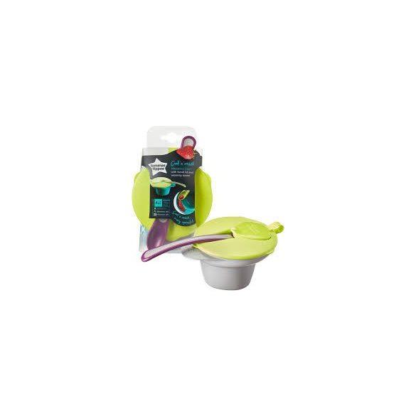 Tommee Tippee Купа за храна с капак, лъжица, отделение за намачкване и охлаждане 4m+