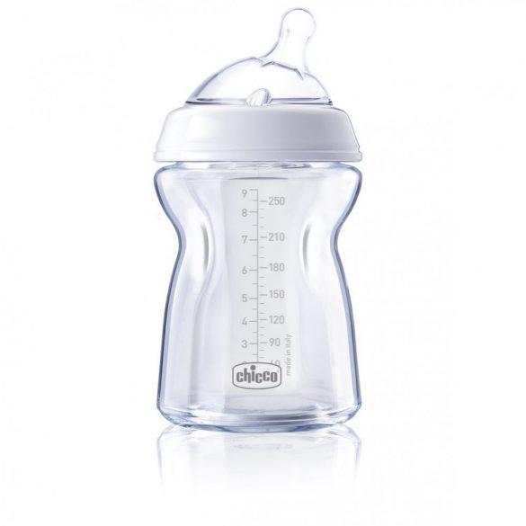 Стъклено шише за хранене Natural Feeling 250 мл, силиконов биберон 1 капка, 0м+