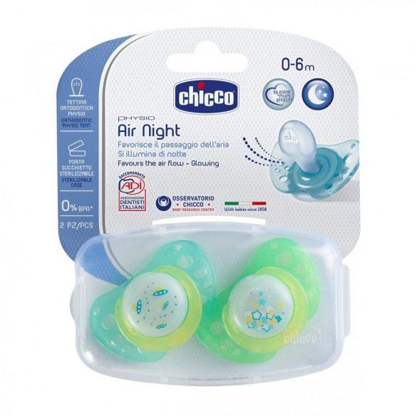 Залъгалка Physio Air Night, светеща, силиконов биберон, 0-6м, 2 бр
