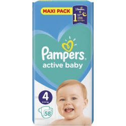 Pampers Active Baby Пелени 4 / 9-14кг/ 58бр.VPP
