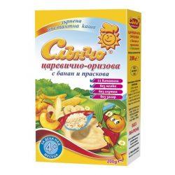 СЛЪНЧО Царевично-оризова каша с банан и праскова без мляко