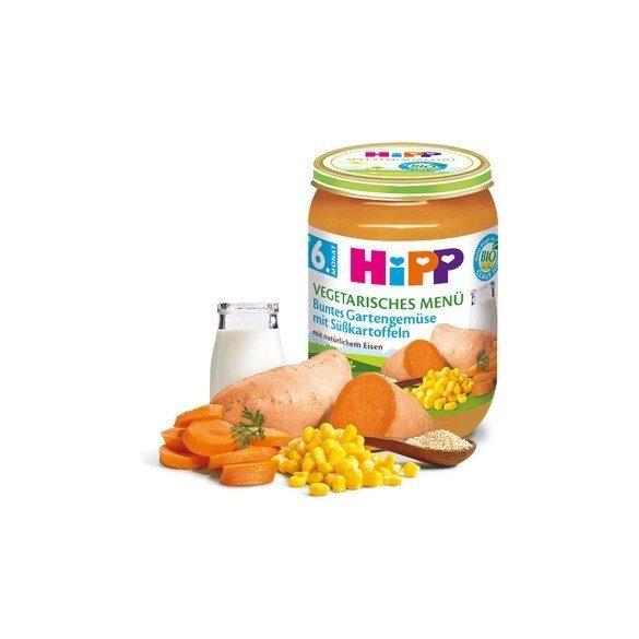 HIPP БИО Вегетарианско меню градински зеленчуци със сладки картофи 6м