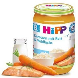 HIPP БИО Моркови с ориз и дива сьомга
