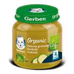 GERBER - Гербер пюре Organic Зелен грах броколи и тиквички - 125g