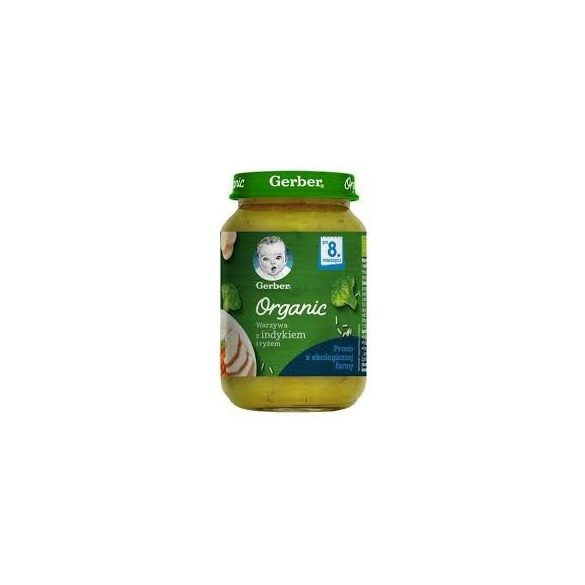 GERBER - Гербер Пюре Organic Зеленчуци с пуешко месо и ориз- 190g
