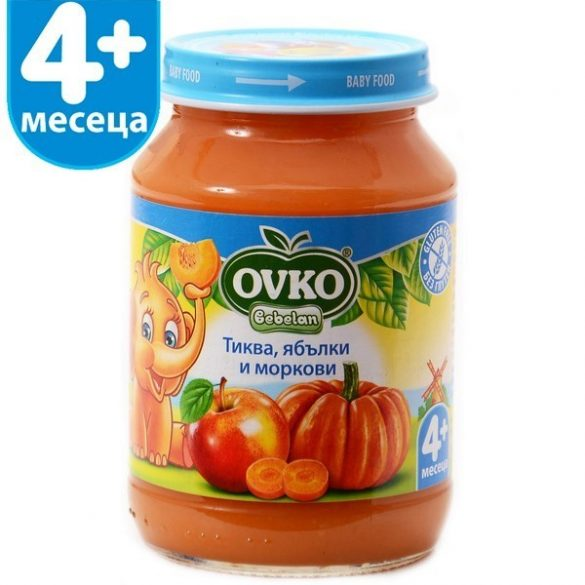 Ovko Тиква с ябълки и морков от 4-ия месец 190 гр.