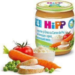HIPP БИО Зеленчуци с ориз и пилешко месо 4м 125гр