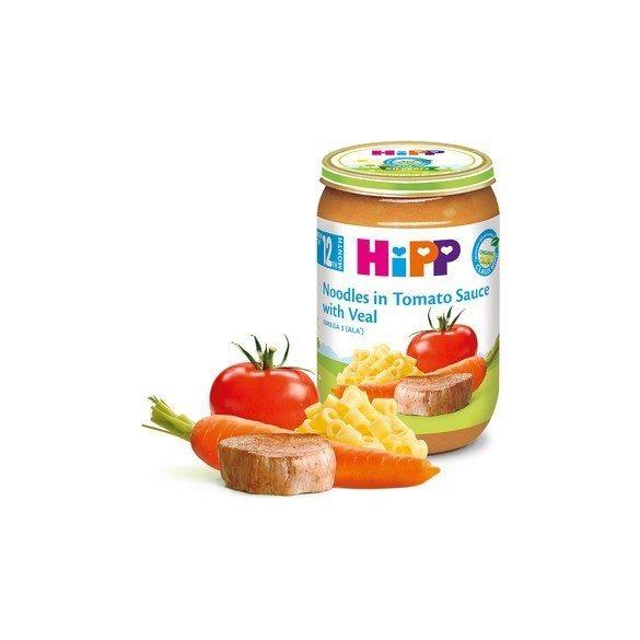 HIPP БИО Макарони с доматен сос и телешко 12м 220g