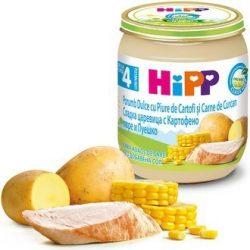 HIPP БИО Сладка царевица с картофено пюре и пуешко месо 4м 125