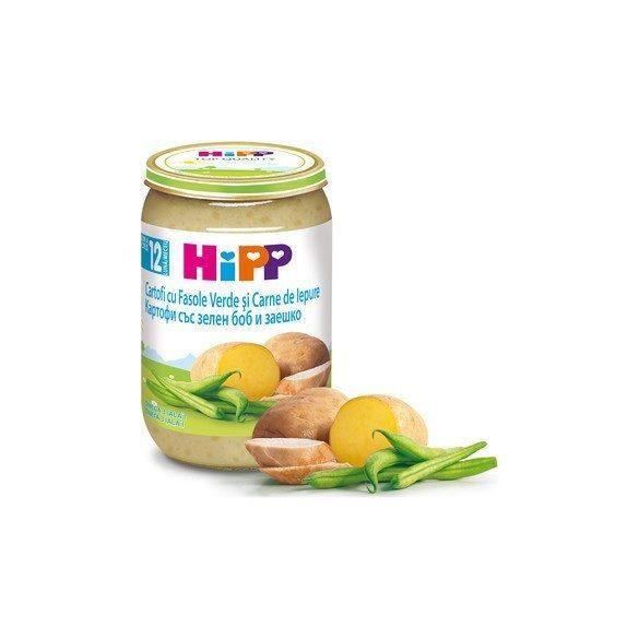 HIPP Картофи със зелен боб и заешко 12м 220g