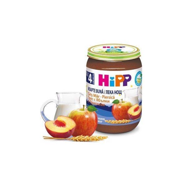 HIPP БИО Млечна каша плодове грис ябълки и праскови