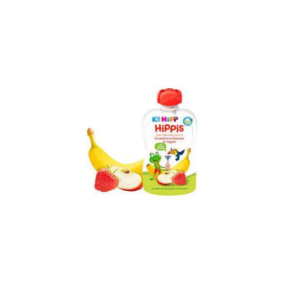HIPP Био Плодова закуска Ябълка , ягоди и банан 100г