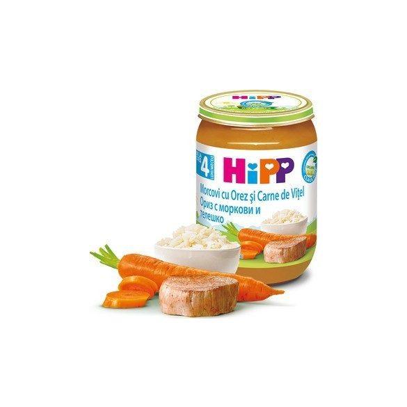 HIPP БИО Ориз с моркови и телешко 4м 190