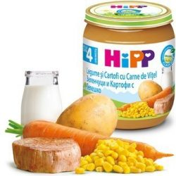 HIPP БИО Зеленчуци, картофи с телешко месо 4м 125