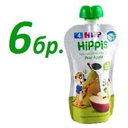 HIPP Био Плодова закуска круша и ябълка ( 6бр х 100г  )